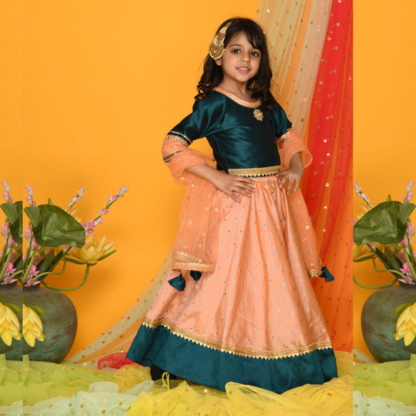 Regal bottle green and peach Lehenga Set- Girls Indian Wear