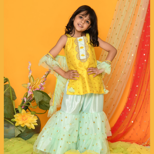 Shades of Pastel - Lemon yellow and green sharara Set - Girls Indian Wear
