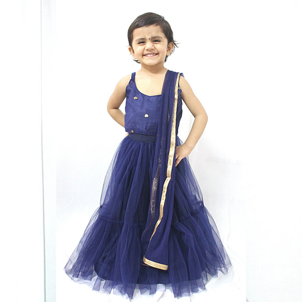 Navy Blue Tulle Lehenga Set Girls Indian Wear