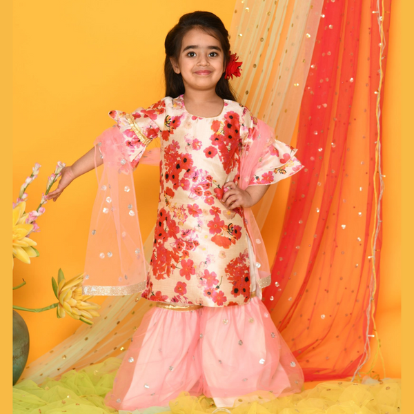 Shades of Pastels - Flowery kurta with pink Sharara Set | Girls Indian Wear
