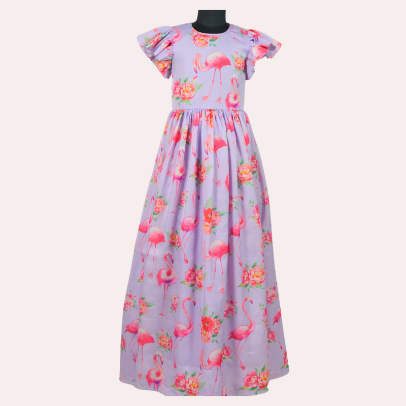 Girls Partywear Long Dress - Flamingo