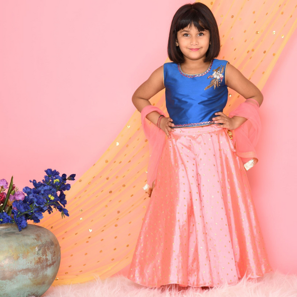 Blue and neon pink Lehenga Set | Girls Indian Wear