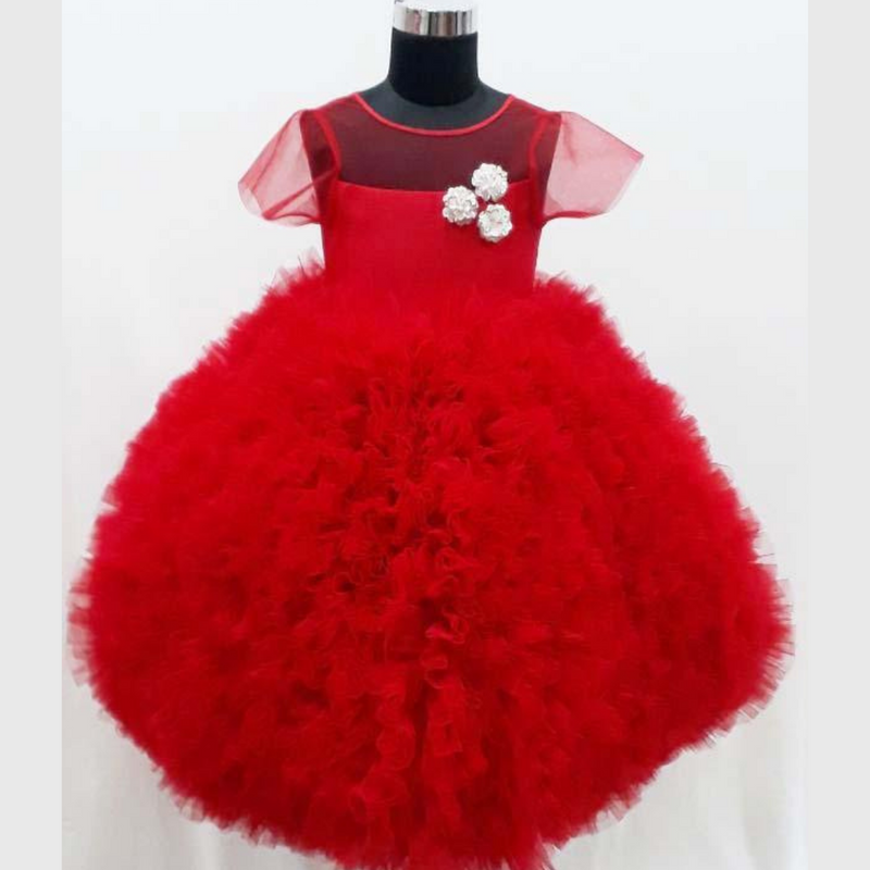 Kids Gown - Red Ruffle