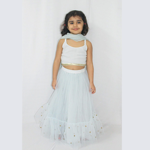 Powder Blue Net Lehenga Set , Girls Indian Wear