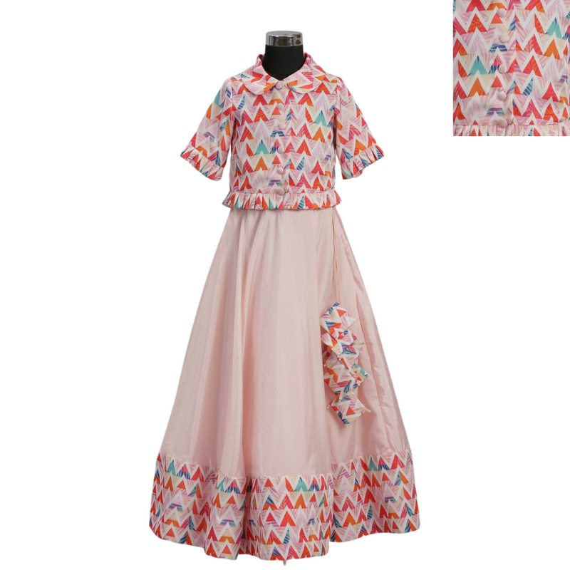 Zig Zag Print Top & Print Border Skirt - Girls Party Wear