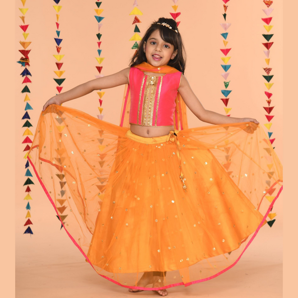 Festive fusia and saffron Lehenga Set -Girls Indian Wear
