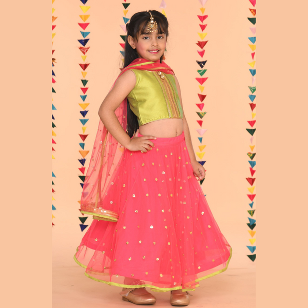 Green Top Fusia festive Lehenga Set - Girls Indian Wear