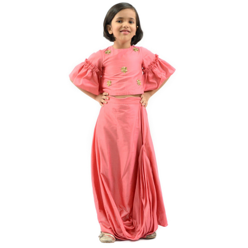 Kids Party Wear - Side Cowl Skirt and Top