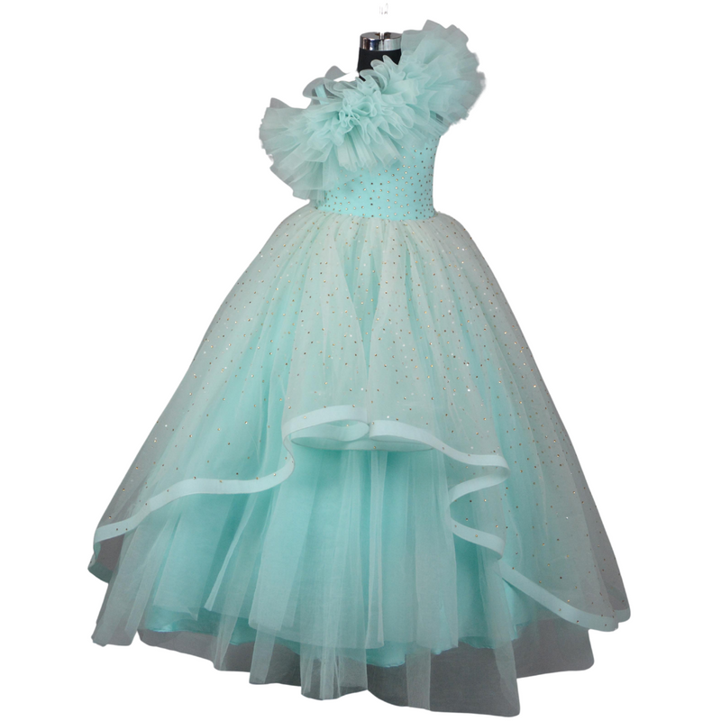 Kids Designer Gown - Sky Blue
