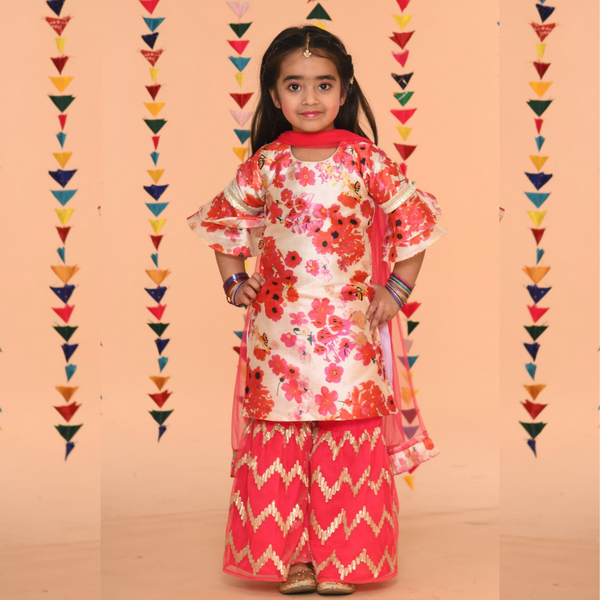 Ivroy Flowery sharara Set in fusia colour- Girls Indian Wear