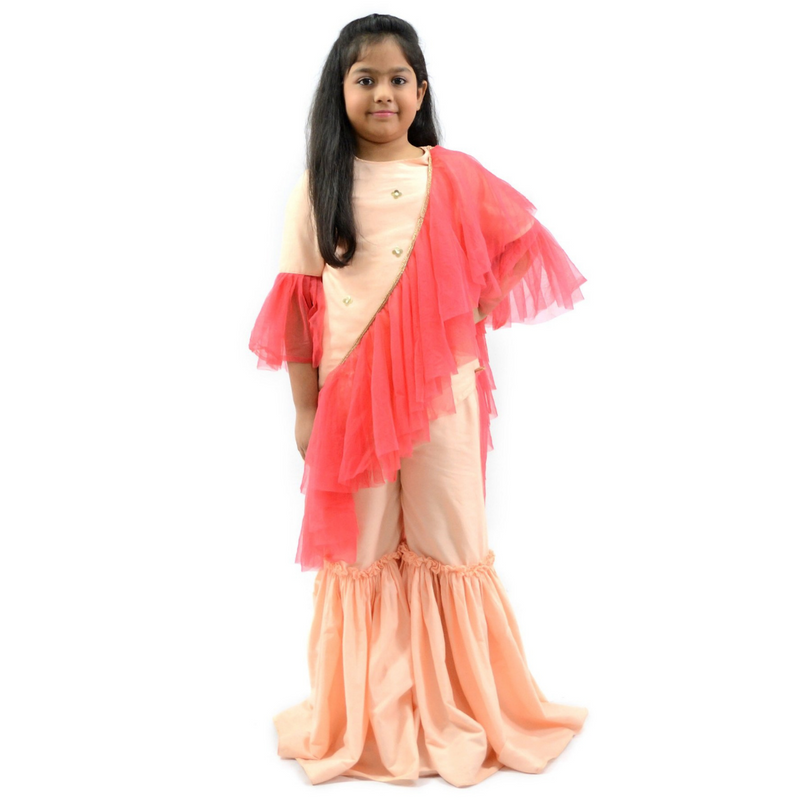 Peach Sharara set with Frill Dupatta Girls Indian Wear