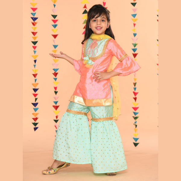 Baby pink and blue Regal Sharara Set | Girls Indian Wear