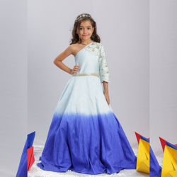 Two Shade Blue Gown Girls Party Wear