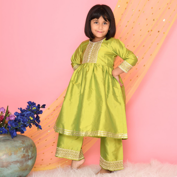 Mehnga green plazo kurta set with lace work | Girls Indian Wear