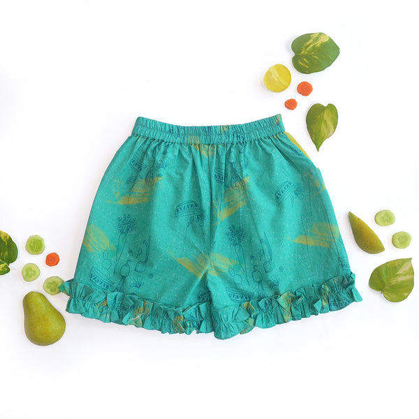 Teal Salad Frill Shorts themumsshop