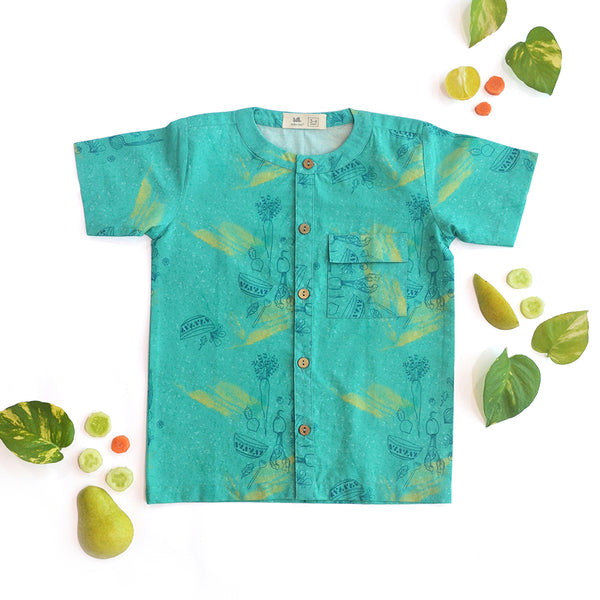 Teal Salad Casual Shirt themumsshop
