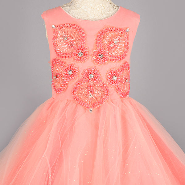 Pink Pearl GlitterTulle Flare Dress- Girls Party Wear