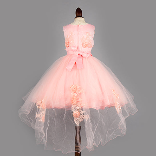 Shell Pink FLower Girl High Low Dress-Girls Party Wear
