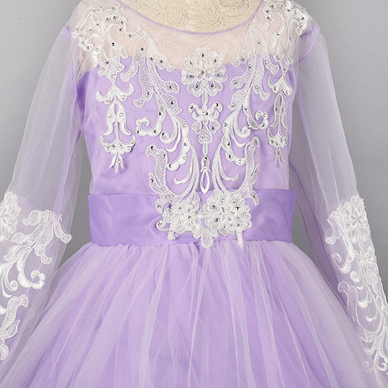 Purple Floral Lace Work Tulle Flare Gown | Girls Party Wear