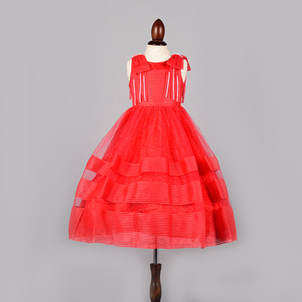Scarlet Red Dress- Girls Party Wear