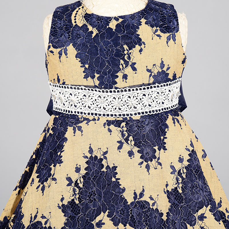 Lace and Floral Pattern Dress | Girls Party Wear
