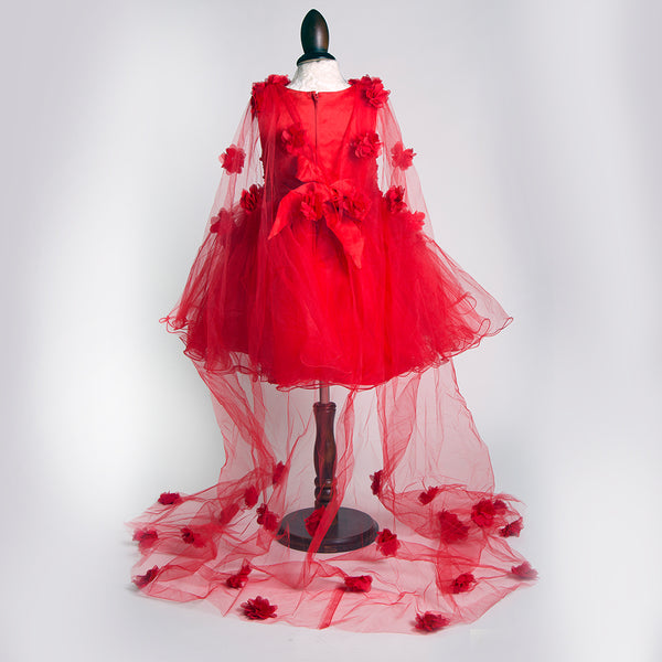 Fairy Red Dress with veil-Girls Party Wear