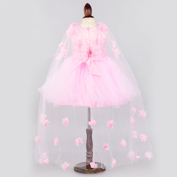 Pink Fairy Dress with veil- Girls Party Wear