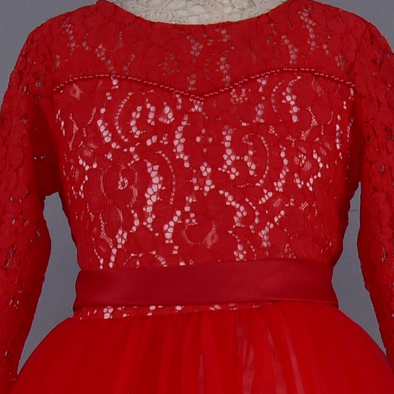 Red Lacey Dress | Girls Party Wear