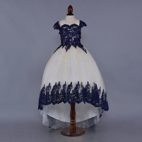 Cream & Blue Embroidered High Low Cap Sleeves Dress- Girls Party Wear