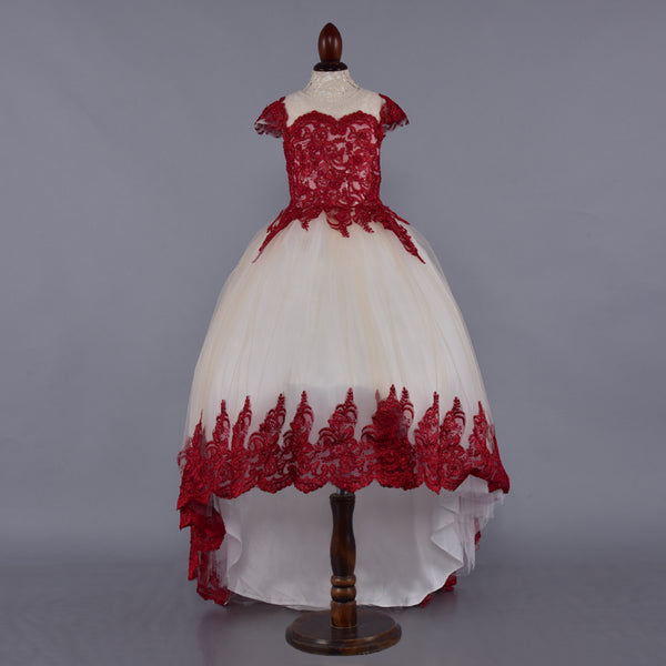 Cream & Red Embroidered High Low Cap Sleeves Dress - Girls Party Wear