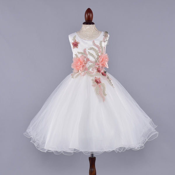 Peach Flower Decorated White Dress - Girls Party Wear