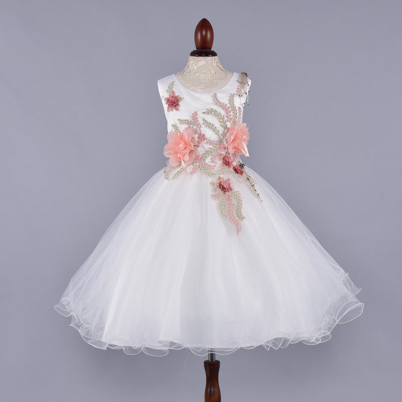 Peach Flower Decorated White Dress | Girls Party Wear