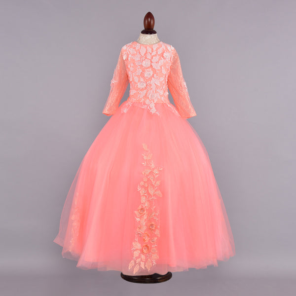 Peach Flower Design Full Sleeves Gown - Girls Party Wear