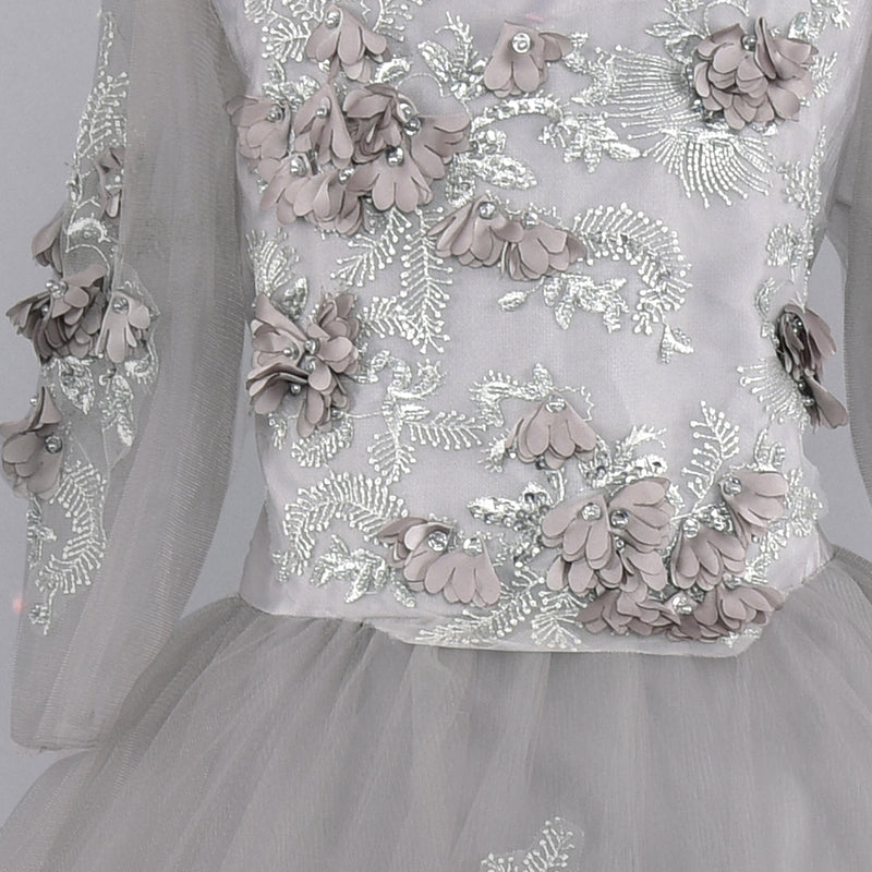 Grey Flower Embellished Gown | Girls Party Wear