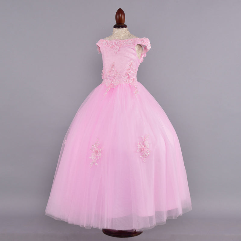 Pink Flower Embellished Gown - Girls Party Wear