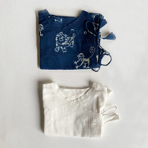 Unisex Organic Newborn Bag - Zoo + Essential White Angrakha - Baby Clothes