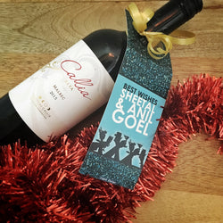 Personalised Wine Tags - Blue
