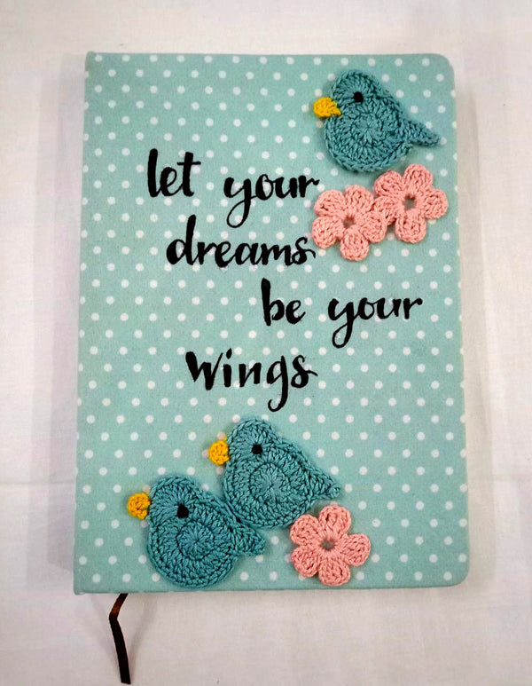 Diary with Crochet Embellished Birds and Pink Flowers | Stationery