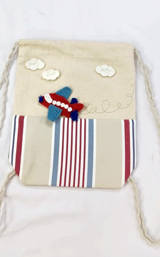 Kids Drawstring bags with Aeroplane Crochet Motif | Kids Backpack