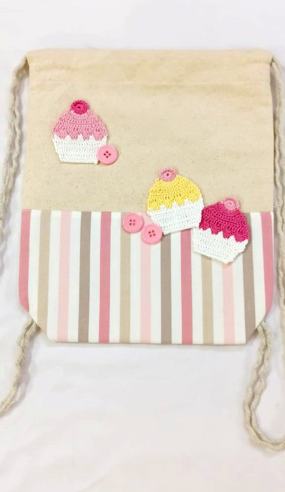 Kids Drawstring bags with Cup Cake Crochet  Motif | Kids Backpack