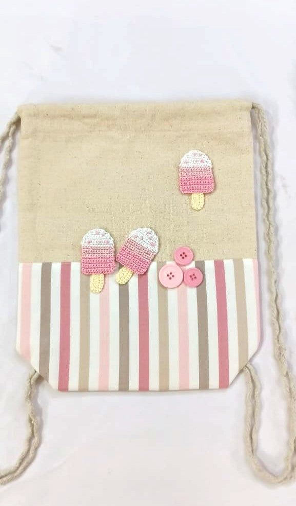 Kids Drawstring bags with Ice Cream Crochet Motif | Kids Backpack