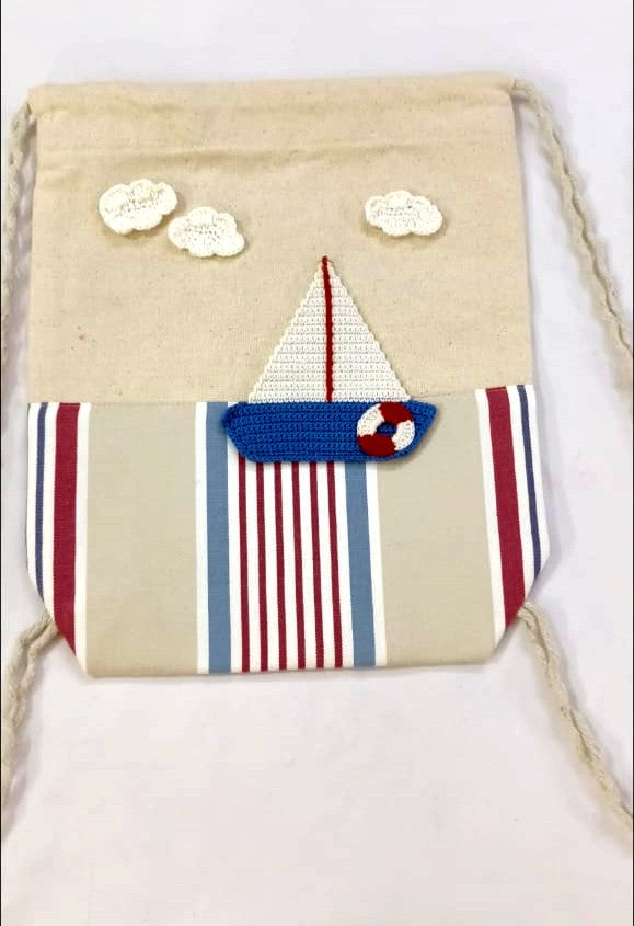 Kids Drawstring bags with Boat Crochet Motif | Kids Backpack