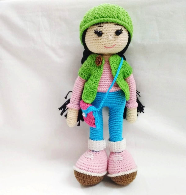 Amigurumi Soft Toy- Doll (Green & Blue) | Crochet Toys