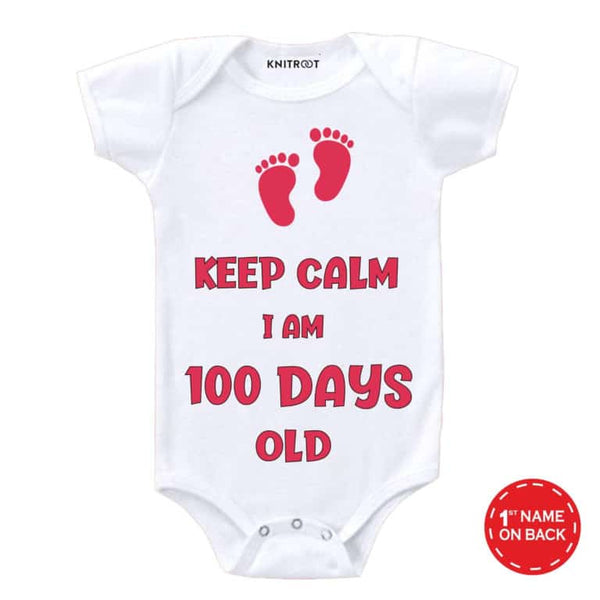 Keep Calm I am 100 days old-18 | Personalised Baby Onesie