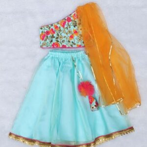 Mint blue Lehenga embroidered choli - Girls Indian Wear