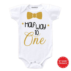 Half way to one golden color glitter baby romper - Personalised Baby Onesie