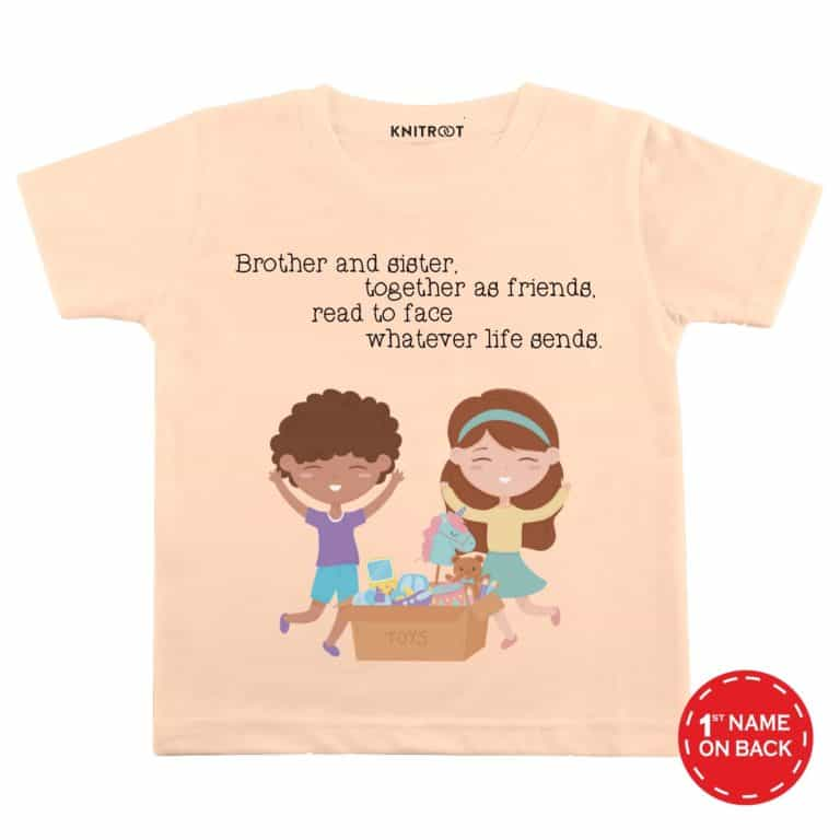 Brother Sister together as friends | Personalised Tshirt