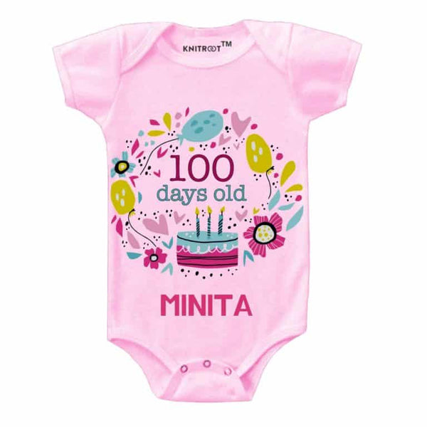 Knitroot 100 Days Personalised Infant Cloth 0-3 Months Pink