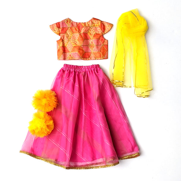 Pink and orange Lehenga set for girls - Girls Indian Wear