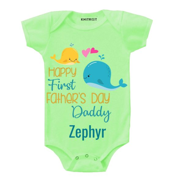 Knitroot Happy Fathers Day Baby Onesie 9-12 Months Green